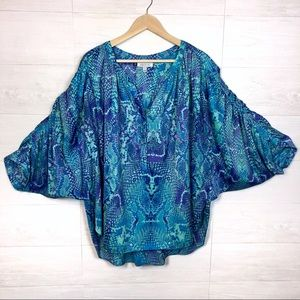 JLo Ruched Dolman Sleeves Blouse Mermaid Colors 3X